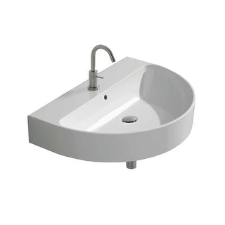 "WS Bath Collections Normal 60A  23-11/16"" Ceramic Wall Mounted / Vessel Bathroom Sink with 1 Hole Drilled and Overflow from the"
