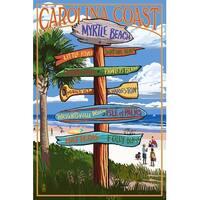 Myrtle Beach, SC - Dest Sign - LP Artwork (Art Print - Multiple Sizes Available)