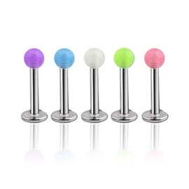 """Steel Labret, Monroe, Tragus or Cartilage with Glow in the Dark Ball - 16GA 5/16"""" Long (Sold Ind.)"""
