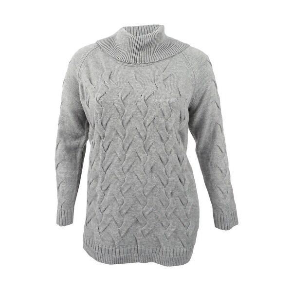 Shop Calvin Klein Women S Cable Knit Cowl Neck Sweater