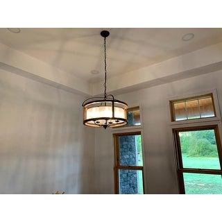 The Gray Barn Antique Black Metal Fabric Shade Wood Frame Chandelier