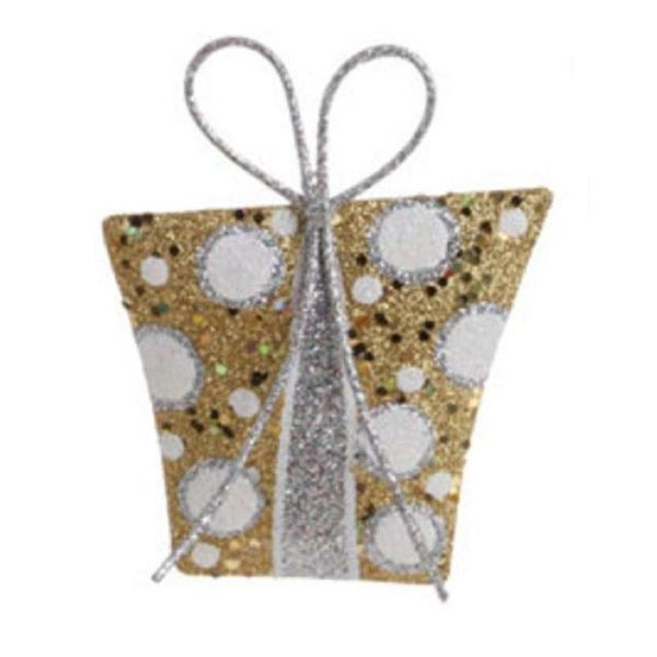 "5"" Christmas Whimsy Gold & Silver Glitter Polka Dot Gift Christmas Tree Ornament"
