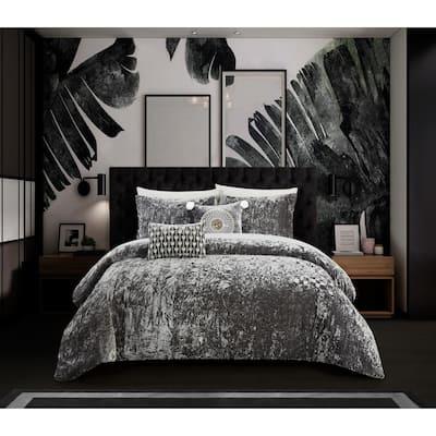 Chic Home Kiana 9 Piece Textured Crinkle Velvet Design Comforter Set, Grey