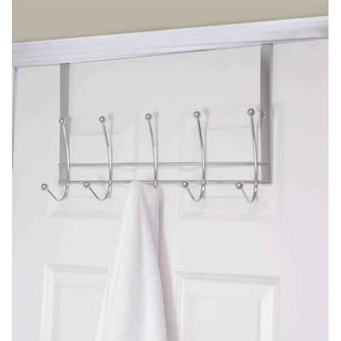 Home Basics Chrome Steel 5-hook Over The Door Hanging Rack