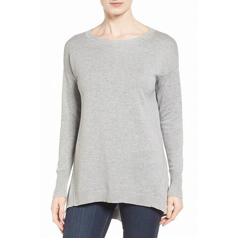 Caslon Gray Womens Size XXL Tunic Ribbed Trim Jewel Neck Sweater