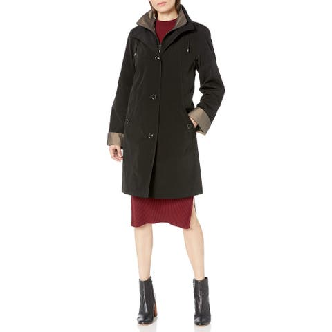 Gallery Women's Missy 3/4 A Line Black Size Small S Hooded Raincoat