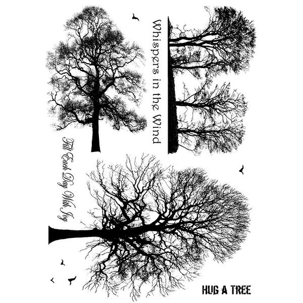 "Crafty Individuals Unmounted Rubber Stamp 4.75""X7"" Pkg-Winter Trees"
