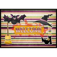 18 x 27 in. Witch Costume and Broom on Stripes Halloween