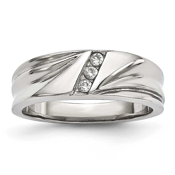 Stainless Steel Polished with CZ Ring (6.8 mm) - Sizes 6 - 13