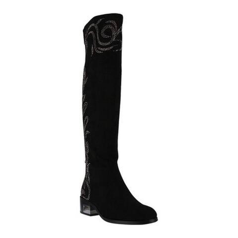 Azura Women's Jani Over The Knee Boot Black Microsuede