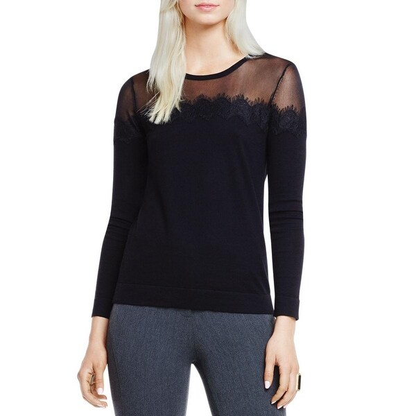 Vince Camuto Womens Golden Era Pullover Top Stretch Lace Trim