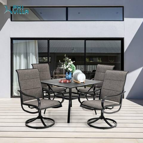 "PHI VILLA Outdoor Dining Set for 4, 1 Squre Dining Tabel with 1.57"" Umbrella Hole & 4 Patio Swivel Chairs Padded Sling Fabric"