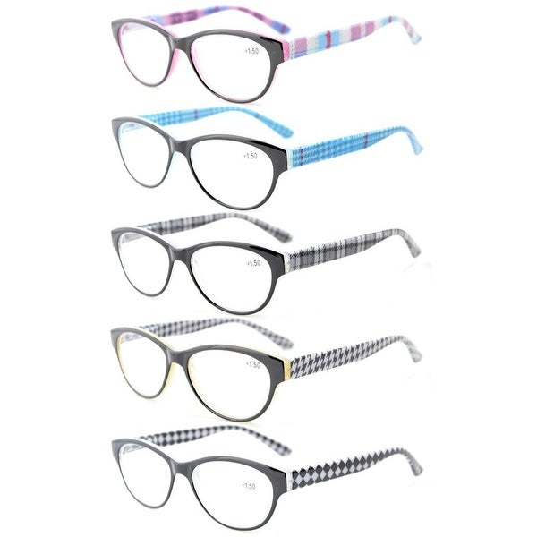 775ca98eec7d Women 5-Pack Readers Spring Hinges Retro Cat-eye Reading Glasses +1.5