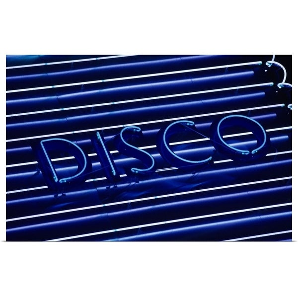"""""""Disco neon sign, Cyprus, close-up"""" Poster Print"""