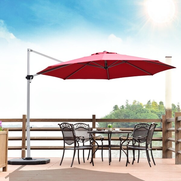 Outdoor 11 FT Cantilever Umbrella Patio Offset with Weight Base. Opens flyout.