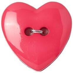 "Fuchsia Heart 2-Hole 1"" 2/Pkg - Slimline Buttons Series Funtastics"