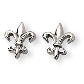 Chisel Titanium Fleur de Lis Earrings