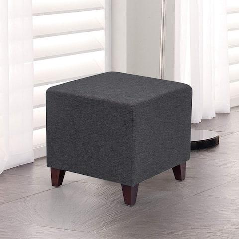 Adeco Simple British Style Cube Ottoman Footstool, 16x16x16, Heather Gray