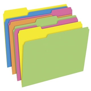 Pendaflex Twisted Glow File Folders, Letter Size, 3 Tab, Assorted Colors, Pack of 24