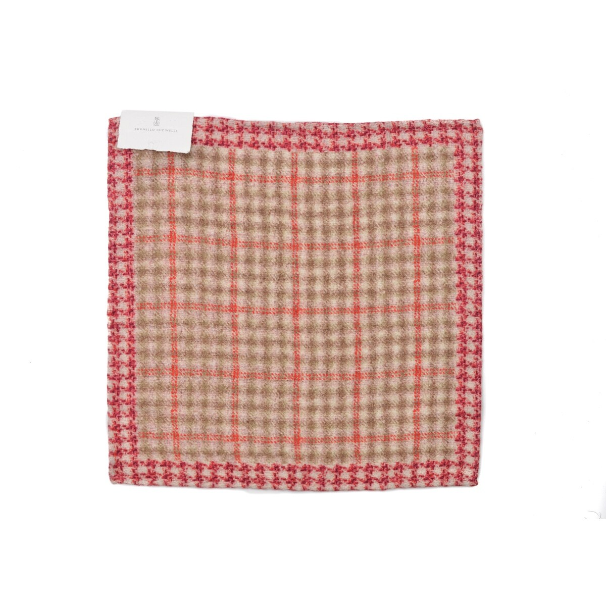 Brunello Cucinelli Mens Red Plaid Wool Blend Pocket Square One Size~Retail$225