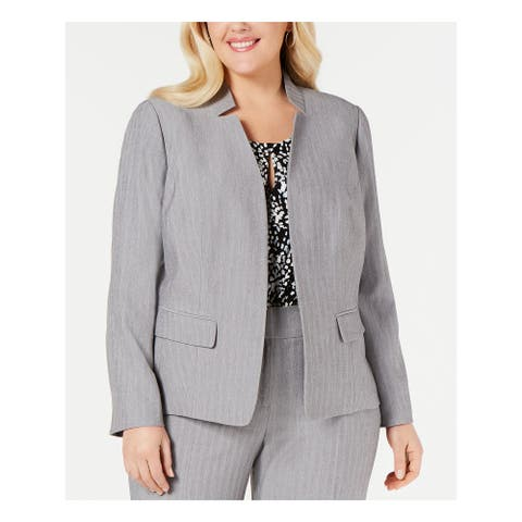 KASPER Womens Gray Herringbone Blazer Wear To Work Jacket Size 22W