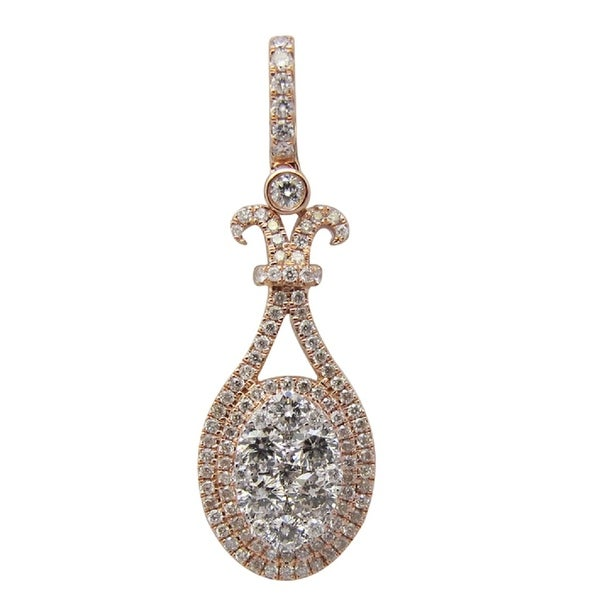 Brand New 0.81 Carat Natural Diamond Designer Pendant, 14k Rose Gold