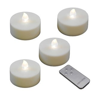 Set of 4 Battery Operated Mega Size White Tea Lights with Remote Control Timer - N/A