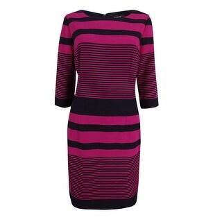 Tahari Women's Striped 3/4 Sleeve Sheath Dress - magenta/navy