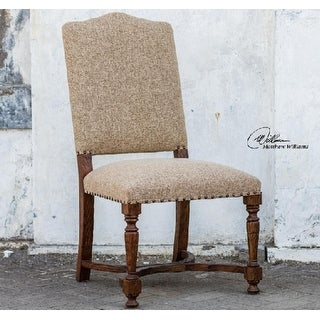 "43"" Sandy Brown Linen Natural Carved Cedar High Back Accent Chair"