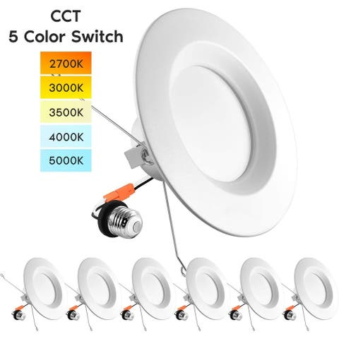 "Luxrite 5/6"" LED Recessed Lights, Color Selectable 2700K 3000K 3500K 4000K 5000K, Dimmable, 1100 Lumens, 6-Pack"