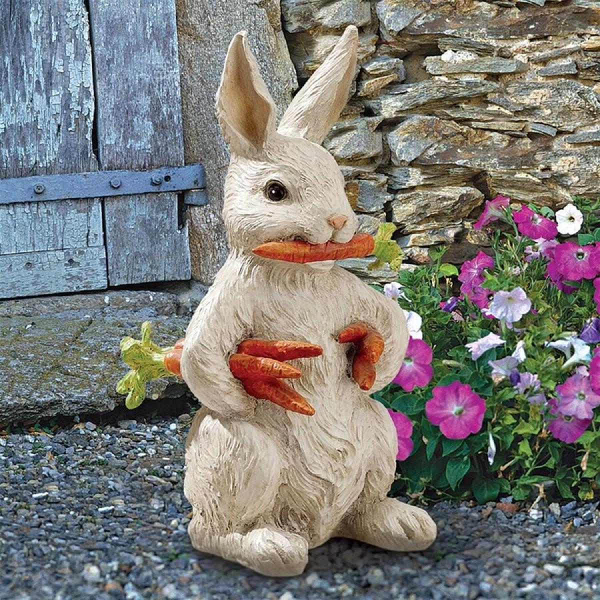 12 5 Carrot Holding Bunny Rabbit Outdoor Garden Statue Overstock 29613037