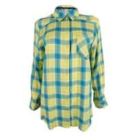 Kensie Women's Long Sleeve Shirt - Yellow Multi - s