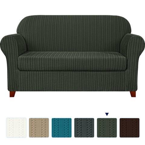 Subrtex Stretch 2-Piece Striped Jacquard Sofa Slipcover