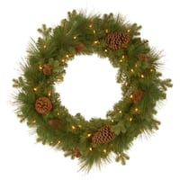 Pre-Lit Eastwood Spruce  Artificial Christmas Wreath - 24-Inch, Warm White LED Lights