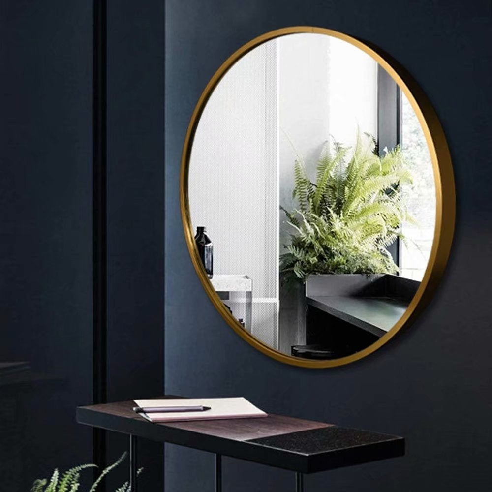 Gold Metal Hanging Round Wall Mirror 13.38 Inches