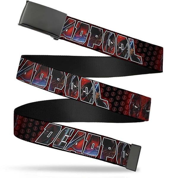 Marvel Universe Blank Black Bo Buckle Deadpool Face Close Up W Logo Web Belt