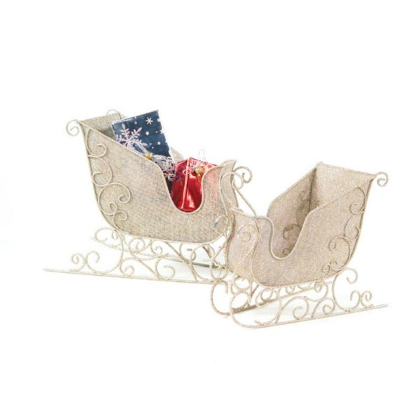 Set of 2 Victorian Inspirations Antique White Christmas Sleigh Decorations