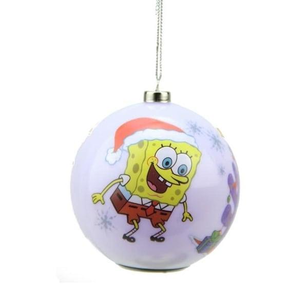 "3.25"" Carlton Cards Heirloom Multi Color LED SpongeBob SquarePants Christmas Ball Ornament - WHITE"
