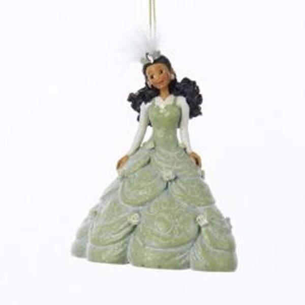 "5"" Pretty As a Princess Kayla Green Gown Black Hair Christmas Ornament"
