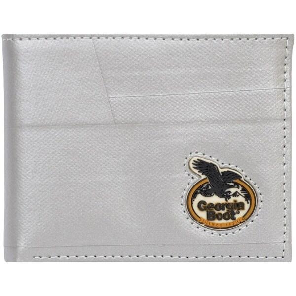 Georgia Wallet Men Leather Bifold Metallic Duct Tape Silver - One size