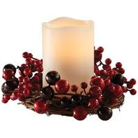 "Apothecary 1434020 LED Cranberry Wreath with Flameless Candle, 8"" Dia."
