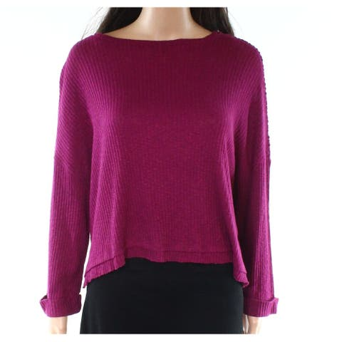Abound Plum Purple Women's XXL Long Sleeve Draped Ribbed Knit Top