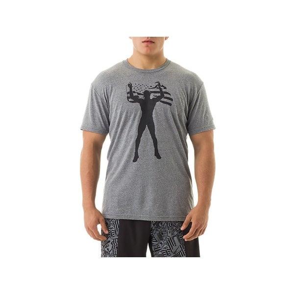 97af6458 Asics NEW Gray Mens Size Large L US Flag Glory Jordan Burroughs Tee T-Shirt