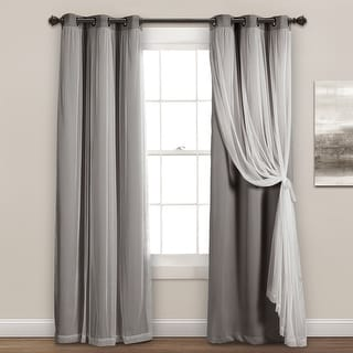 Link to Lush Decor Grommet Sheer Panels with Insulated Blackout Lining Similar Items in Curtains & Drapes