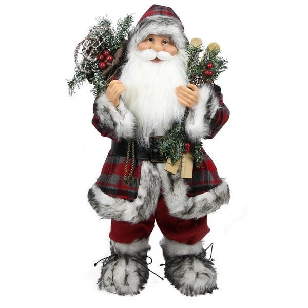 """24"""" Alpine Chic Standing Santa Claus with Frosted Pine, Snowshoes and Skis Christmas Figure"""
