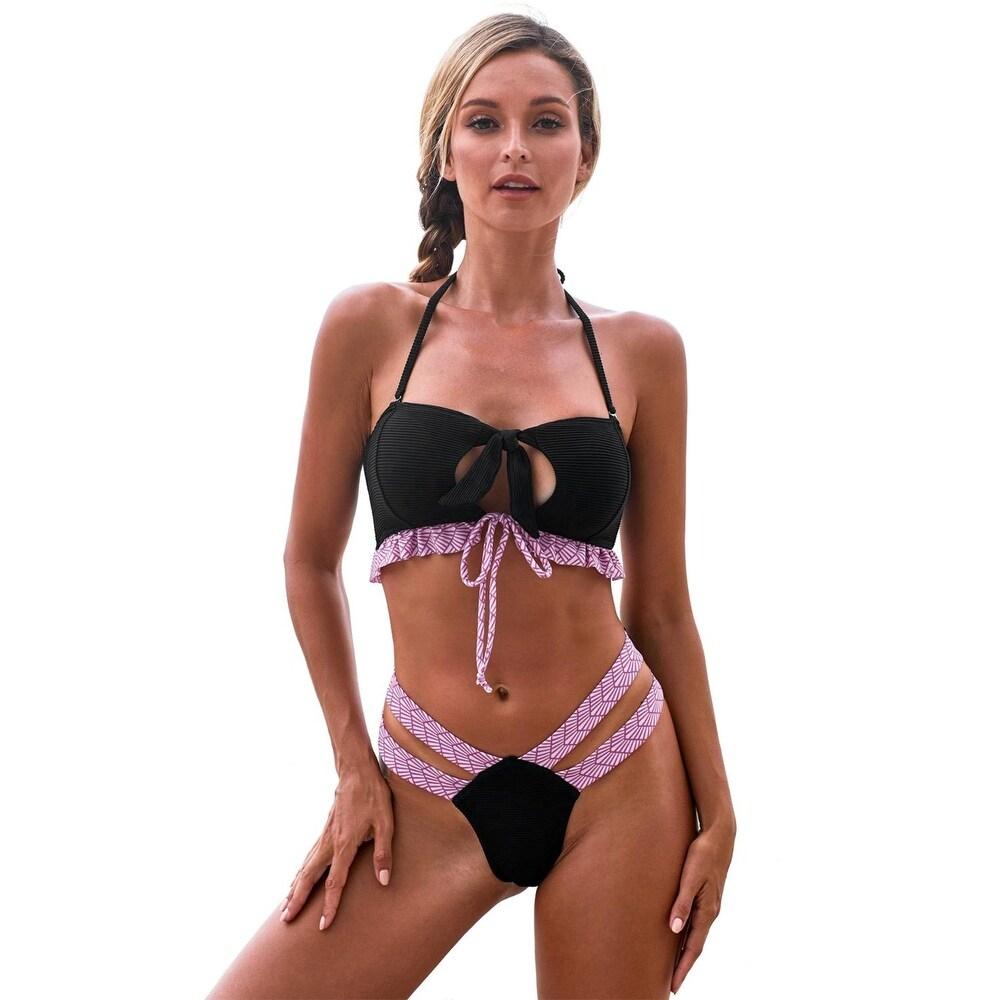Cali Chic Womens Two Piece Swimsuit Celebrity Black Ruffle Bandeau Bikini Swimwear for Women