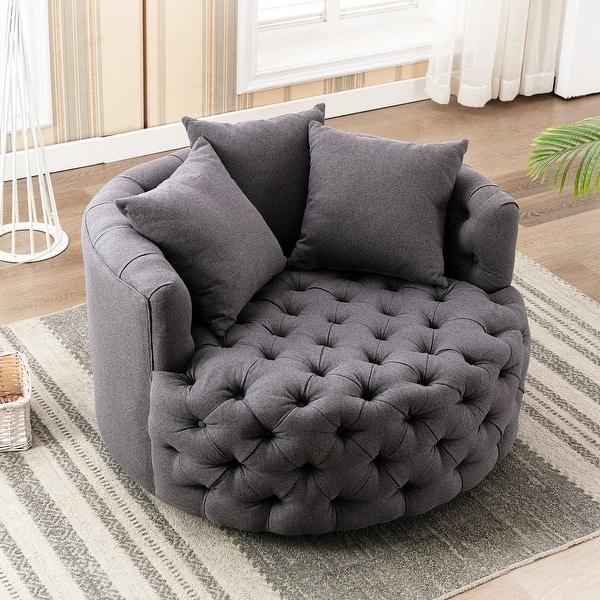 Upholstered Tufted Round Swivel Barrel Chair Overstock 31727568 Dark Grey