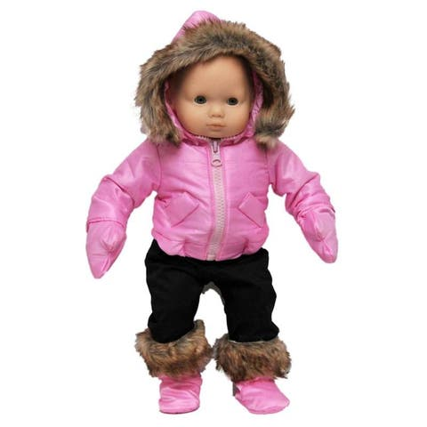 15 in Baby Doll Clothes, Twin 6pc Pink Winter Jacket, Pants, Boots, Mittens Fits Bitty Baby Dolls