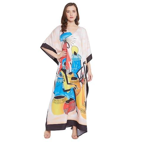 Oussum Womens Casual Maxi dress Polyester Swim Kaftan Cover Up Summer Beach Dresses For Ladies Girls Vintage Sleepwear