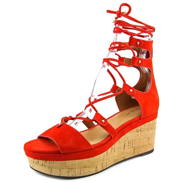 Coach Barkley Women Open Toe Suede Orange Wedge Sandal
